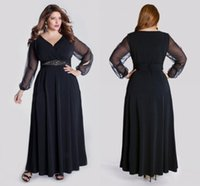 Wholesale Elegant Black Plus Size Prom Dresses with Long Sleeve A Line V Neck Cheap Party Formal Evening Gowns Vestido de Festa