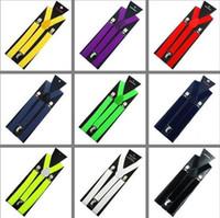 Wholesale Mens Womens Clip on Suspenders Elastic Y Shape Adjustable Braces Solids cm retail
