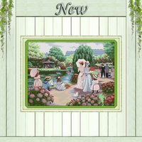 beautiful outings - The Women Outing Beautiful backyard garden CT printed on canvas DMC CT Cross Stitch kit needlework embroider Sets Home Decor