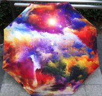 beach umbrella art - New Art Oil Painting Umbrella Rain Women Creative Iridescent Cloud Beach Umbrellas Parasol Anti UV Girl Umbrella