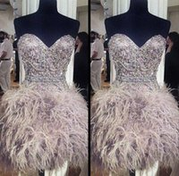 Wholesale Luxury Short Sweetheart Cocktail Dresses Crystal Beading Sash Prom Gowns Feather Homecoming Dresses With Feathers Sleeveless SKG
