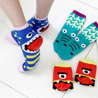 Wholesale 2015 spring pair Fashion monster novelty cute cartoon women socks cotton short tube slipper sock multi color Korean style