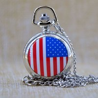 antique american flag - New Fashion American US Flag Small Quartz Luxury pocket watch Analog Pendant Necklace Mens Womens Gifts P091