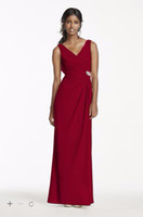 red and black bridesmaid dresses - Custom Made New Fashion Crepe Sheath Dress with Side Slit and Cowl Back Style W10628 Bridesmaid Dresses