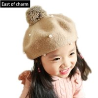Wholesale Cutely Kids Winter Hat For Girl Baby Beret Hat For Children Warm Plus Thick Beanies Colors