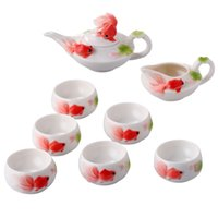 Wholesale Chinese classic enamel porcelain tea sets ceramic mugs minimalist red cup coffee pot package of six goldfish