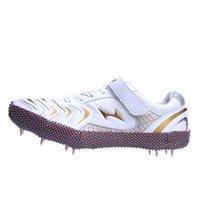 Al por mayor-DsFine unisex genuino profesional del salto de altura de pie clava tres zapatos de clavos transpirable Zapatillas Running Entrenamiento Deportivo