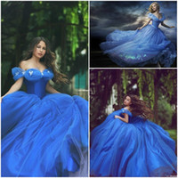 amazing butterflies - 2015 Newest Cinderella Wedding Gowns Movie Ball Gown Colorful Tulle Off Shoulder Portrait Butterfly Formal Prom Pagenat Dresses Amazing Gown