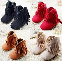 baby rubber boots - 2015 winter high waist zipper tassel casual plus velvet baby toddler boots PU soft bottom infant girl balancing warm boots pair CL