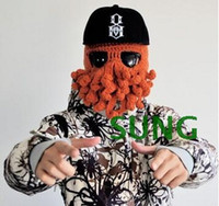 beanie hat - Octopus Hats Creative Squid beard caps Autumn Winter Hand Made Warm Woolen hats Novelty Funny Ski Knitted Beanie