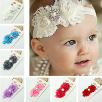 baby hair accessories lot - Shabby Flowers Baby Headbands Chiffon Fabric Flower Pearls Rhinestones Button Colors Children Hair Accessories