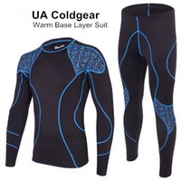Cheap Men's UA Coldgear Base Layer Warm Suit - Armour 2.0 Regular Fit Pro Compression Fleece Warm Thermal Long Sleeve Top & Fitted Under Tight