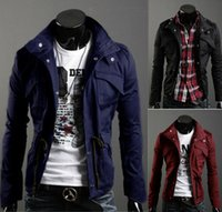 new design men jacket - New Slim Sexy Top Designed Mens Jacket Coat Colour Black Army green Gray Retail hot