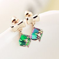 bejeweled jewelry - Beautiful crystal pretty delicate imitation Bejeweled Water Cube bow earrings jewelry