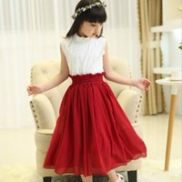 t-shirt dresses - 2015 Summer Girls Sets Children Princess Outfits Kids Lace T Shirt And Chiffon Long Skirt Pieces Sets Girls Fashion Pleated Dresses