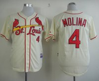 authentic cardinals jersey - Cheap Baseball Jerseys St Louis Cardinals Yadier Molina Cream Grey White Home Jersey Authentic Stitched Cool Base Jersey