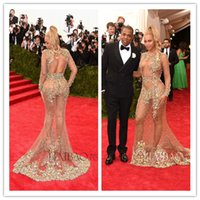 Wholesale 2015 Hot Sexy Beyonce MET Gala Sheer Mermaid Long Sleeve Celebrity Dresses Red Carpet Evening Gowns Sparkly Crystal Rhinestone Prom Dresses