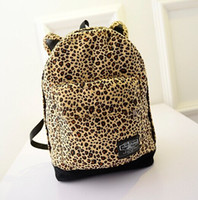 Wholesale Lovely fashion korean style Women s leopard backpack bags cat ear student school bags travel bags Computer bags