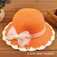 Wholesale 2015 New Fashion Korean Children Hats Baby Straw Hat Summer Sun Hat for boys and girls Kids jazz hats baby hat Fashion Bonnet