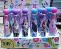 Wholesale 1 Box rotating children Cartoon Frozen Stationery Ballpoint pen