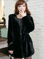 Wholesale 2016 Autumn Winter New Women Coats Faux Fur Outerwear Reversible Hooded Long Sleeve Think Parkas Plush overcoats