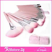 Wholesale 24Pcs Pink Make Up Cosmetic Brush Set Kit Makeup Brushes with Heart Case