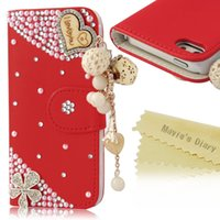 Cheap Crystal LOVE Heart Pendant Sparkle Glitter Rhinestone Diamond Flowers PU Leather Wallet For Iphone6 6Plus Samsung Galaxy Ace(S5830) S5360