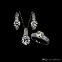 best designer engagement rings - Elegant Design Crystal Necklace Earring and Rings Jewelry Set for Ladies Designer Party Wedding Jewelry Best Gifts