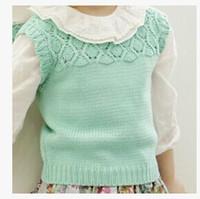 2015 spring New Girls knitting sweater vest Children hollow Waistcoats kid ALL-Match princess Waistcoats A5885