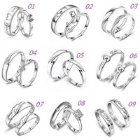 Wholesale 925 Sterling Silver Jewerly Couple Rings With Rhinestone Opening Adjustable Lovers Rings For Women And Men