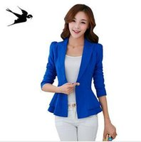 Wholesale Fashion Jacket Blazer Women Suit Foldable Long Sleeves Lapel Coat Candy Color Blazer Single Button Vogue Blazers Jackets SS197