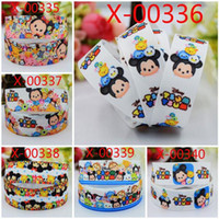 Wholesale 2015 yards quot mm lovely Tsum Tsum grosgrain ribbon tape cartoon Mickey Minnie mouse print handmade DIY ployester bow ribbon