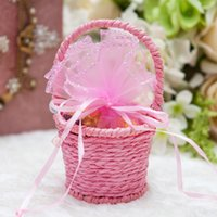 woven basket - Fashion Handmade Weaving Wedding Favor Candy Box Gifts Bags Basket Colors For Party Decorations Supplies
