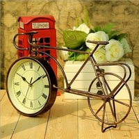 bicycle ornaments - Retro Vintage Style Metal Bike Bicycle Clock Home Decor Table Clock Ornament