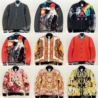 brand winter jacket for men - 2015 New Brands Unisex jackets Cardigan for women baseball jacket mens coats clothes D Rainbow flowers Stripe print winter coat