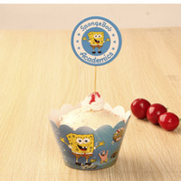 cake supplies - Party Decorations Event Cupcake Wrappers SpongeBob fishing Cup Cake Toppers Picks Kids Birthday Supplies Party Favors H0309b