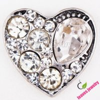 bezel setting necklace - Snap Button crystal love heart Enamel metal Interchangeable buttons Jewelry fit snap button Charms bracelet or necklace