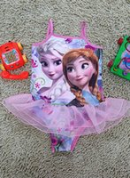 Cheap 2015 New Girls Baby Swimwear Toddler Swimsuit Frozen Queen Elsa Anna Peppa Pig Hello kitty 2-6 Years Tankini Bathing Bather DHL EMS FEDEX