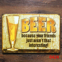 Wholesale BEER FRIENDS METAL TIN SIGN Vintage Wall Pub Bar Metal Decor man cave modern metal wall art