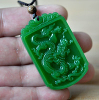 hand carved jade - Chinese Rich Green Natural Hand Carved HeTian Jade Dragon pendant