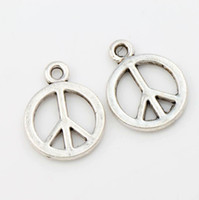antique signs - Hot sell x14 mm Antique Silver Small Smooth Peace Sign Charms Pendants Jewelry DIY L246