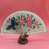 Wholesale Butterfly Floral Fans Spanish Fans Wood Bridal Accessories Performance Party Formal Event Hand Accessories New Fashion