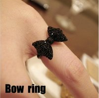 Wholesale Fashion Vintage Cute Black Rhinestone Butterfly Bow Rings Jewelry Hot Selling Accessories For Women