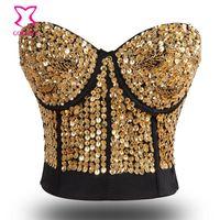 belly dancing bra tops - B Cup Gold Sequins Studded Belly Dance Bra Top Cotton Women Bras Brassiere Push Up Strapless Bralette Sexy Lingerie Underwear