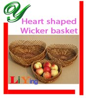 willow basket - Wicker picnic basket storage baskets zakka heart shaped wire rustic basket fruit basket decoration willow size easter basket wedding basket