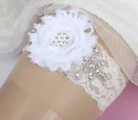 Lace embroidered chiffon lace - Handmade Chiffon Flowers Lace Bridal Garters White Cheap Sexy Garters for Wedding Crystal Beads Wedding Leg Garters Bridal Accessories