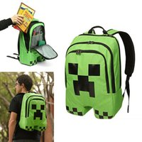 Wholesale Minecraft Creeper Backpacks Green Shoulder School Bags Polyester Waterproof Student Mochilas For Teenagers Girls Boys