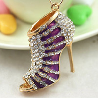 Wholesale 3D Enamel Key ring holder Novelty Purplel High heel Shoe Key chains Purse handbag Charms Real Gold Plated Alloy Keyring