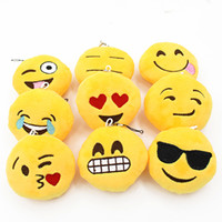 Wholesale 2016 New Cute Soft Emoji Smiley Emoticon Pendant Yellow Round Plush Toy Doll Ornaments DVX