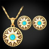 real gold jewelry - Fashion Colorful Rhinestone K Real Gold Plated Sun Star Pattern Pendant Earrings Jewelry Set YS2045